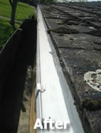 A roof gutter after the Aqua Clean treatment